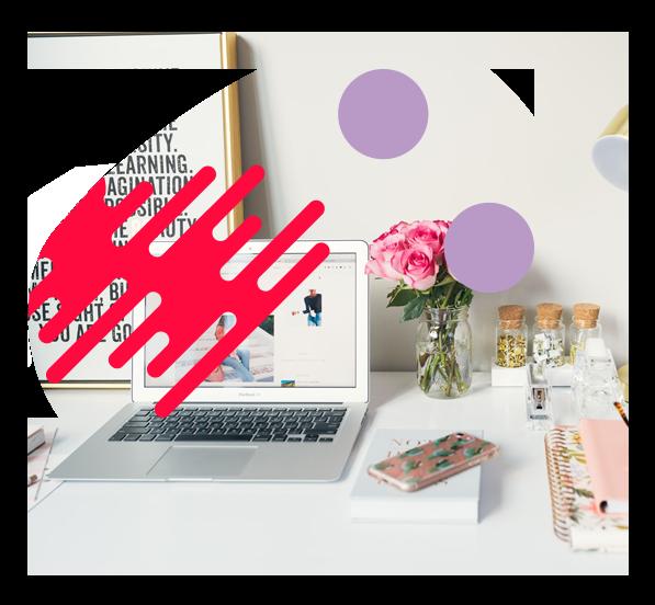 Grafika pokazujaca laptop oraz telefon komorkowy lezace na stole