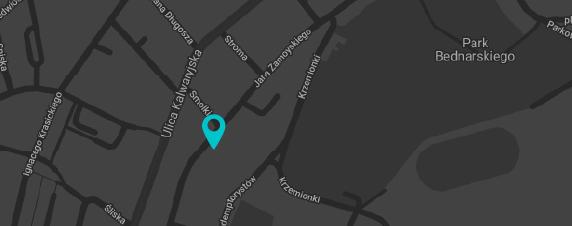 Mapa pokazujaca lokalizacje Krakowskich Szkol Artystycznych